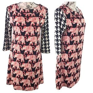 Tracy Negoshian Black & Red Elephant Print Dress S